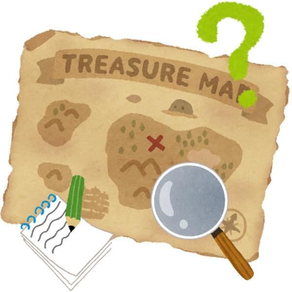 宝の地図を調査するイラスト