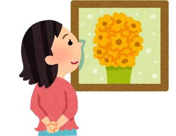 絵画を鑑賞するイラスト