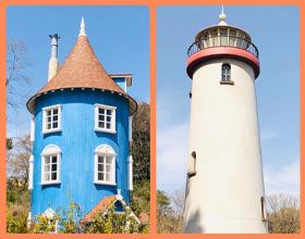 ムーミンの家と灯台の写真
