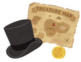 魔法の帽子と金貨と宝地図のイラスト