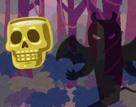 黄金ドクロと悪魔の森のイラスト
