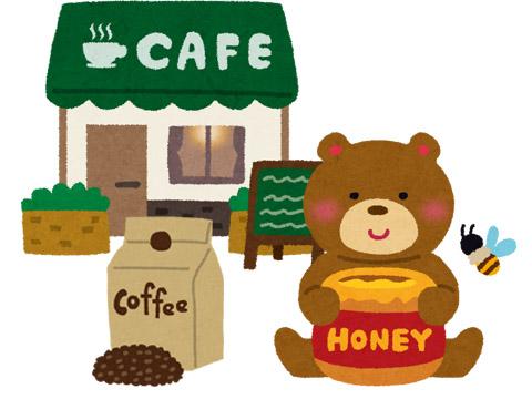 クマと珈琲豆とカフェのイラスト