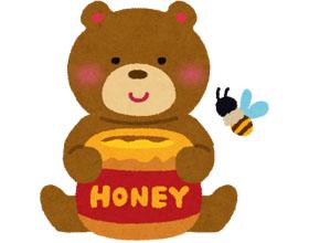 クマとハチミツポットのイラスト