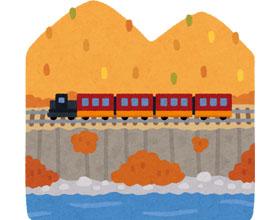 山を行く列車のイラスト