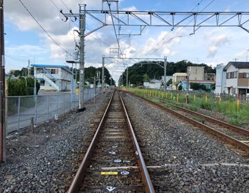 真っ直ぐな線路の写真