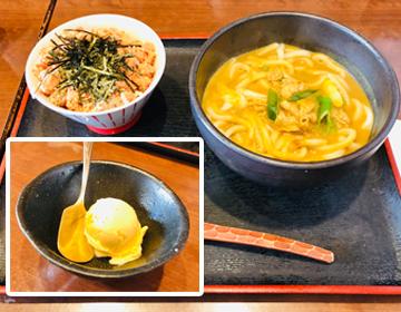 「富貴堂」のカレーうどん、ミニ丼、アイスの写真