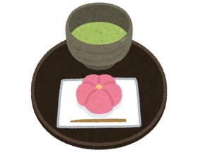 お抹茶と和菓子のイラスト