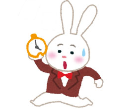 時計ウサギ単体のイラスト