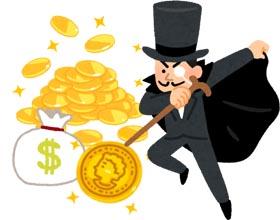 怪盗と金貨のイラスト