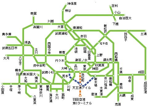 JR東日本1日乗車券の利用範囲例の画像