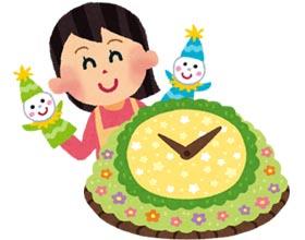 花時計と人形劇のイラスト