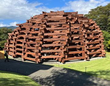 彫刻謎「木材ドーム」の写真